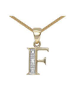 Jewelco London 9 Carat Yellow Gold Elegant Diamond-Set Pendant on an 18 inch Pendant Chain Necklace - Inital F