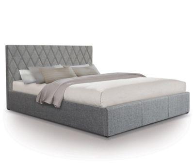 Diamond Designer Fabric Ottoman Gas Lift Storage Bed - Double - Grey
