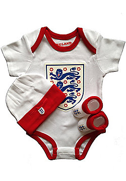 England Football Baby 3 Piece Set - Large Crest - White
