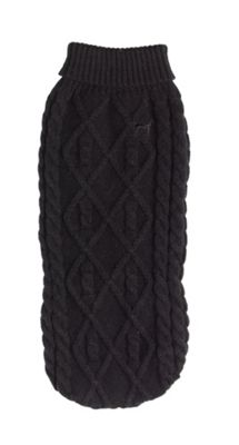 Polo Neck Cable Knit Jumper Black - XS