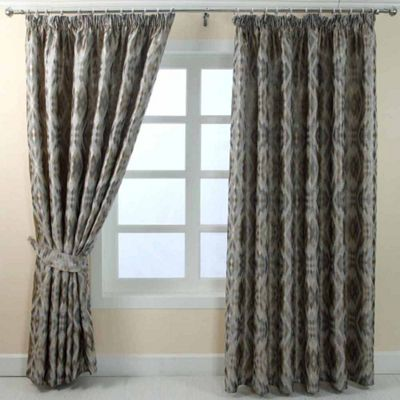Homescapes Grey Jacquard Curtain Geometric Diamond Design Fully Lined - 66