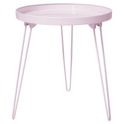 Charming Anica Folding Pin Leg Side Table, Pink