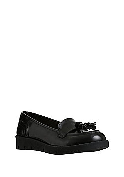 F&F School Flatform Loafers - Black