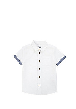 F&F Turn-Up Short Sleeve Shirt - White