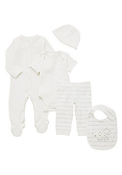 F&F 5 Piece Star Print Baby Gift Set - Cream