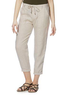 F&F Tapered Leg Linen Trousers Natural Beige 16 Regular leg