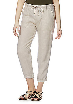 F&F Tapered Leg Linen Trousers - Natural Beige