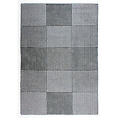 Oakland Wool Squares Light Grey Rug - 60x100cm