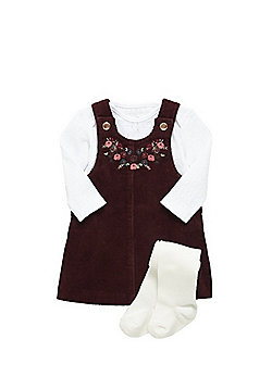 F&F Floral Embroidered Corduroy Pinafore, Bodysuit and Tights Set - Red