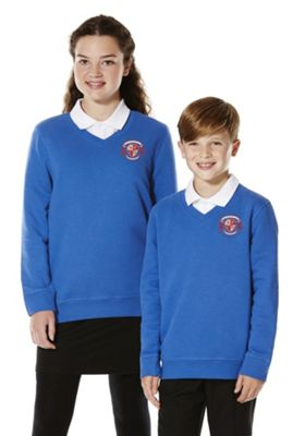 Unisex Embroidered V-Neck School Sweatshirt with As New Technology 10-11 years Royal blue