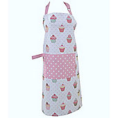 Homescapes Cotton Cupcakes Pink Blue Unisex Apron With Pocket