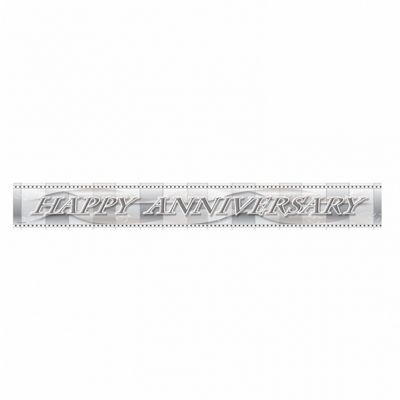 Party - Happy Anniversary Banner - Silver - Amscan