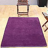 Homescapes Chenille Plain Cotton Extra Large Rug Purple, 110 x 170 cm