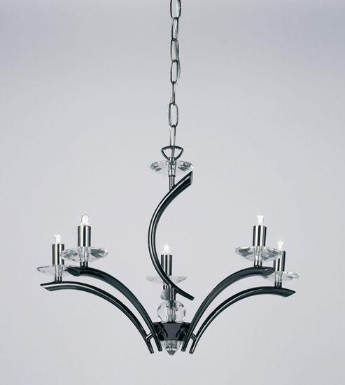 Endon Lighting Five Light Chandelier in Black Chrome