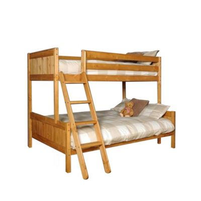 Comfy Living 3ft Single & 4ft Small Double Children's Premium Triple Bunk Bed in Caramel with 2 Basic Budget Mattresses