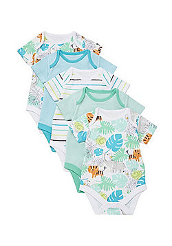 F&F 5 Pack of Jungle Print Short Sleeve Bodysuits - Multi Blue