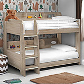 Happy Beds Domino Oak Wooden and Metal Kids Storage Bunk Bed 2 Orthopaedic Mattresses 3ft Single