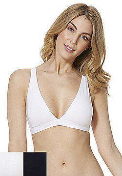 F&F 2 Pack of Non-Wired Jersey Bralettes - Navy/White