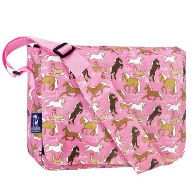 Girl's Pink Horses Satchel, Children Girls Messenger Bags-Horses