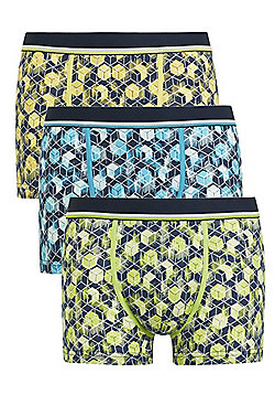F&F 3 Pack of Geometric Cube Print Hipsters with As New Technology - Multi