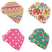 Award Winning, Gift Boxed, Baby Girls Bandana Dribble Bib 4 pack Ethnic Inspirations by Zippy