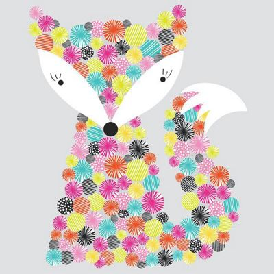 Nursery Wall Sticker - Giant Rainbow Fox