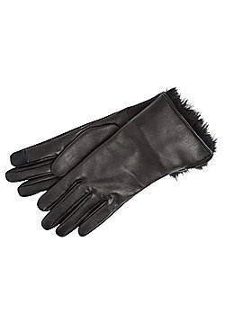 F&F Faux Fur Cuff Leather Touch Screen Gloves - Black