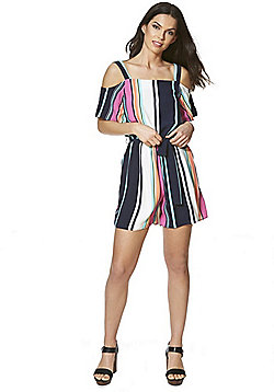 F&F Striped Cold Shoulder Playsuit - Multi