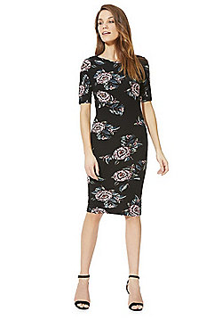 AX Paris Floral Print Bodycon Dress - Black & Multi