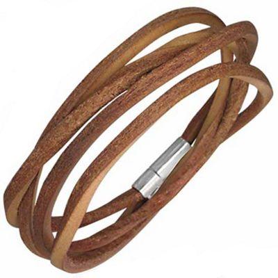 Urban Male Men's Brown Leather Cord Style Wrap Bracelet