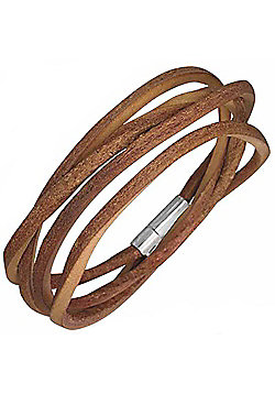 Urban Male Men's Brown Leather Cord Style Wrap Bracelet