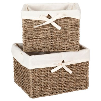 Tesco Seagrass Fabric Lined Baskets, Set of 2
