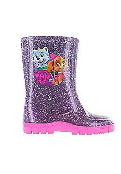 Girls Paw Patrol Glitter Purple Wellies Wellington Rain Boots Sizes UK Child 5-10 - Purple