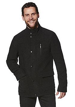 F&F Four Pocket Textured Coat - Charcoal