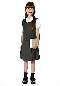 "F&F School Teflon EcoElite""™ Permanent Pleat Pinafore - Grey"