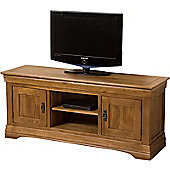 French Chateau Rustic Solid Oak Widescreen Tv Unit Cabinet