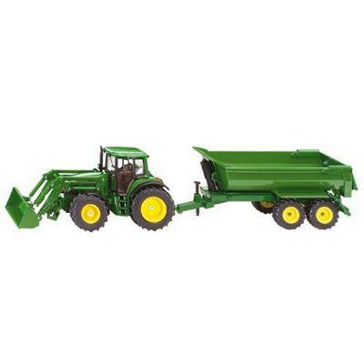 Farming - 1:32 Scale John Deere with Loader & Tipping Trailer - Siku