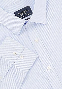 F&F Fine Stripe Regular Fit Long Sleeve Shirt - Blue