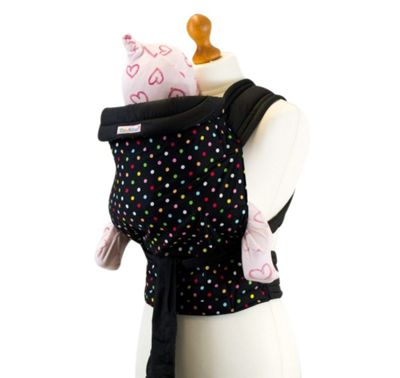 Palm & Pond Mei Tai baby Carrier - Black & Multi Polka Dot Pattern
