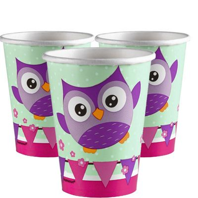 Owls Cups - Paper Party Cups - 8 Pack