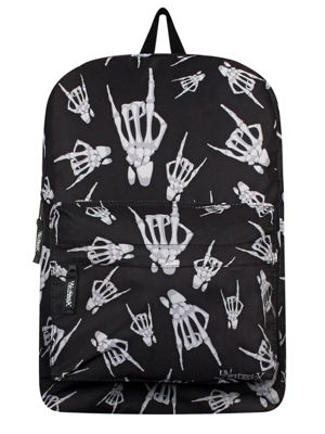Unorthodox Skeleton Rock Hands Black Backpack 32x42x11cm