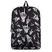 Unorthodox Skeleton Rock Hands Black Backpack 32x42x11cm