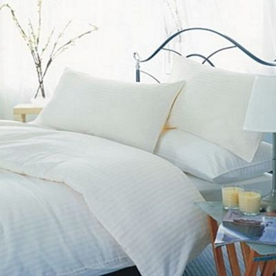 Belledorm 540 Thread Count Hotel Stripe Flat Sheet, Ivory - Single