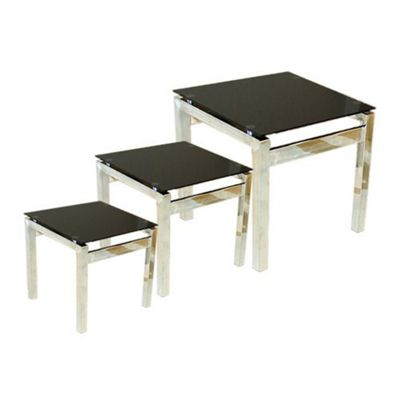 Eton Piano Black Glass and Chrome Nest of Tables
