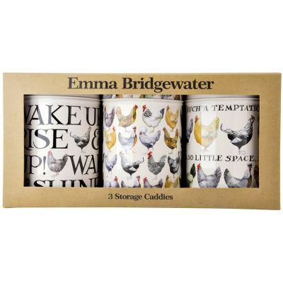 Emma Bridgewater Hens Set 3 Round Caddies (BROWN BOX)