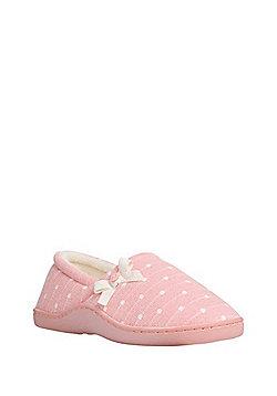F&F Polka Dot Closed Back Slippers - Pink