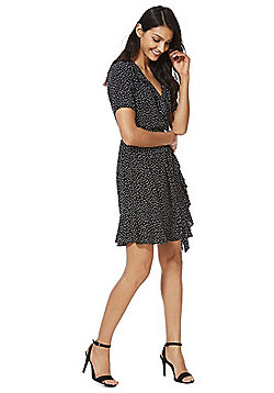 F&F Spot Ruffle Dress - Black