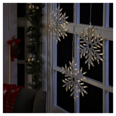 battery operated light up snowflake christmas light 3 pack
