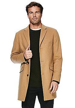 F&F Wool Blend Overcoat - Camel