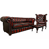 Chesterfield Leather Oxblood Red 3 Seater Sofa, Queen Anne Wing Chair and Footstool